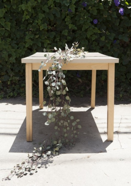 Natural DIY Eucalyptus Wedding Table Runner
