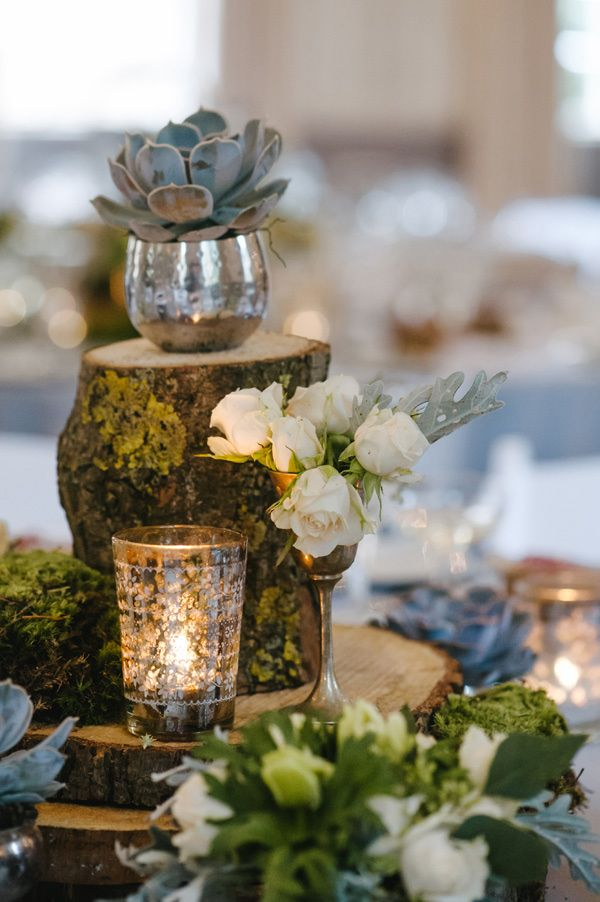 Picture Of Naturally Charming Woodland Wedding Centerpieces 15