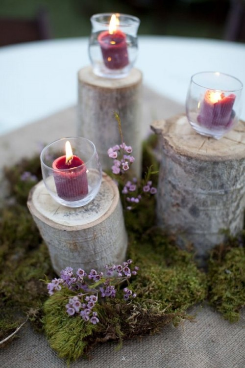 Naturally Charming Woodland Wedding Centerpieces