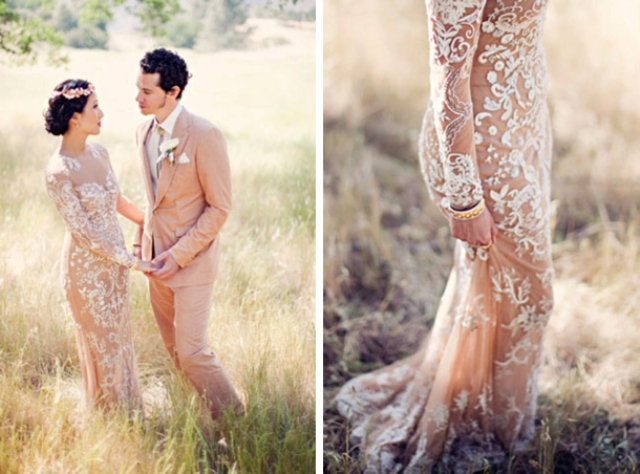 a glam fitting nude lace wedding dress with a high neckline and long sleeves is a gorgeous statement