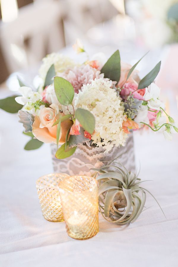 a box wrapped with lace and white and pink blooms is a truly chic rustic wedding centerpiece