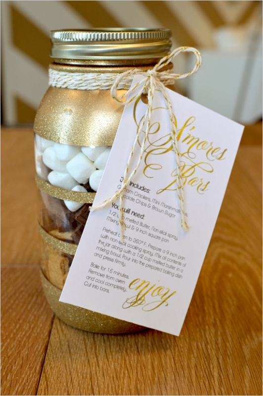 Picture Of perfect winter guests favor smores bars in diy glitter mason jars  1