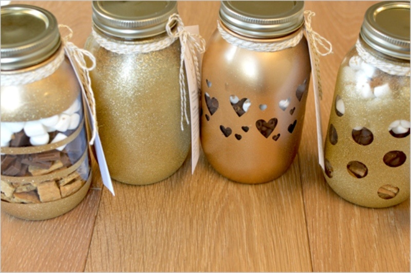 Picture Of perfect winter guests favor smores bars in diy glitter mason jars  3