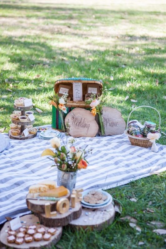 a cozy picnic setting with a striped blanket, some blooms, wood slices, a vintage suitcase and baskets with food and drinks