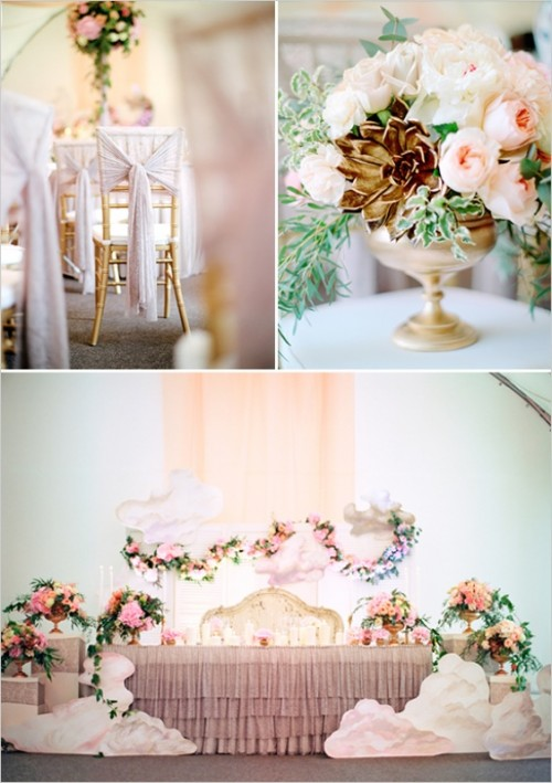 Pink And Gold Angelic Themed Wedding Inspiration