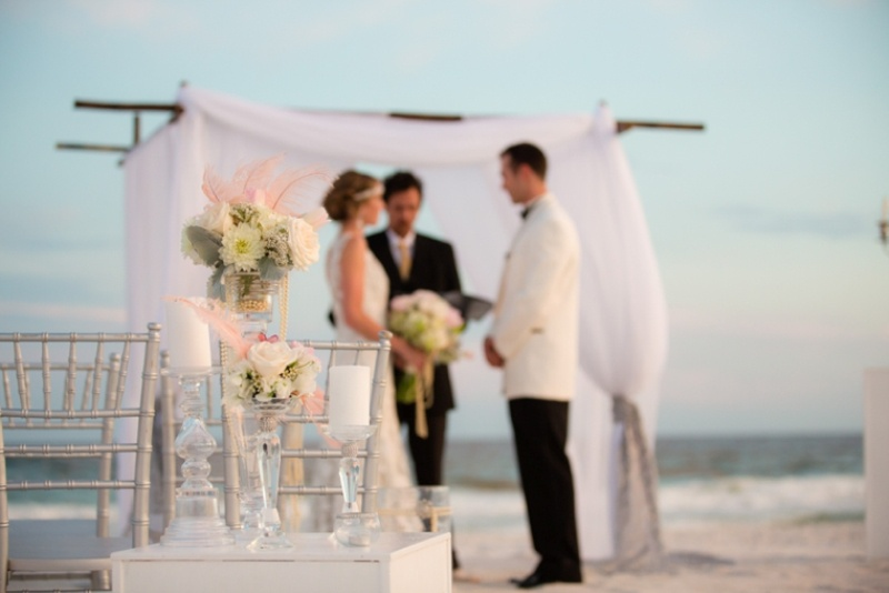 Picture Of pink and silver glamorous great gatsby wedding inspiration on the beach  10