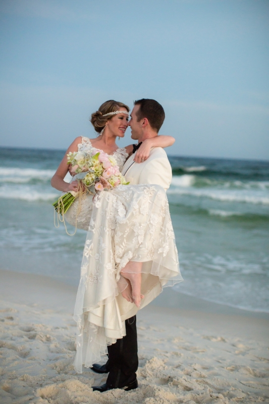 Picture Of pink and silver glamorous great gatsby wedding inspiration on the beach  13