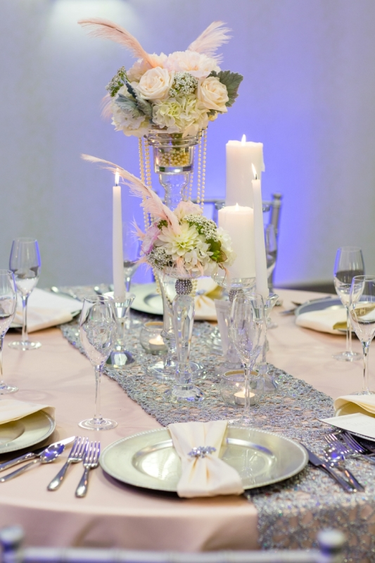 Picture Of pink and silver glamorous great gatsby wedding inspiration on the beach  16