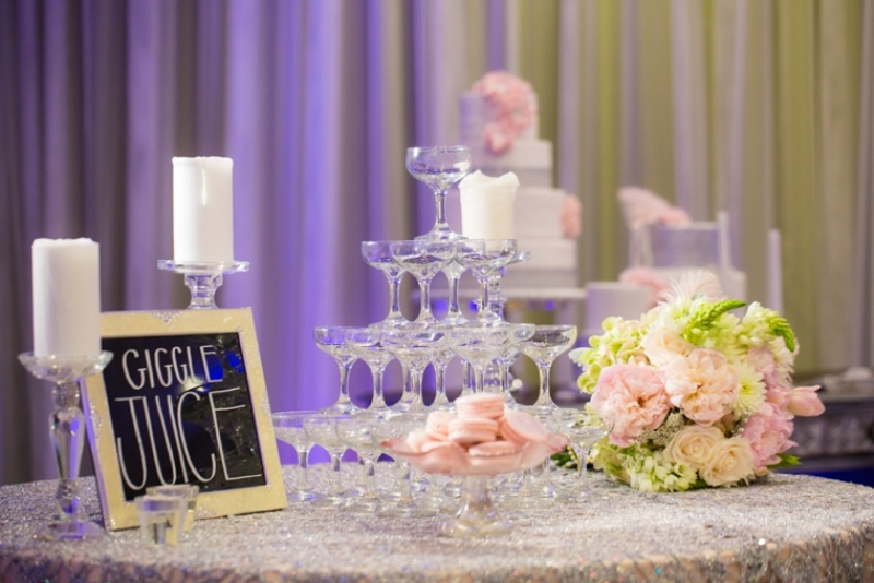 Picture Of pink and silver glamorous great gatsby wedding inspiration on the beach  17