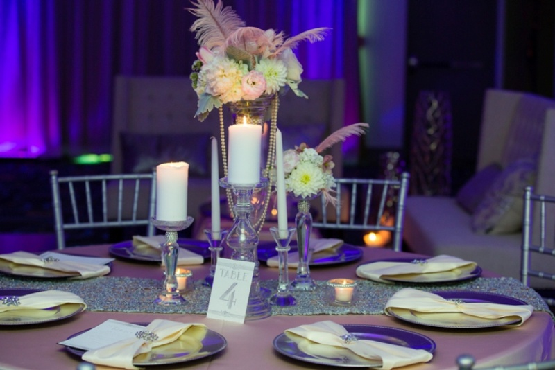 Picture Of pink and silver glamorous great gatsby wedding inspiration on the beach  18