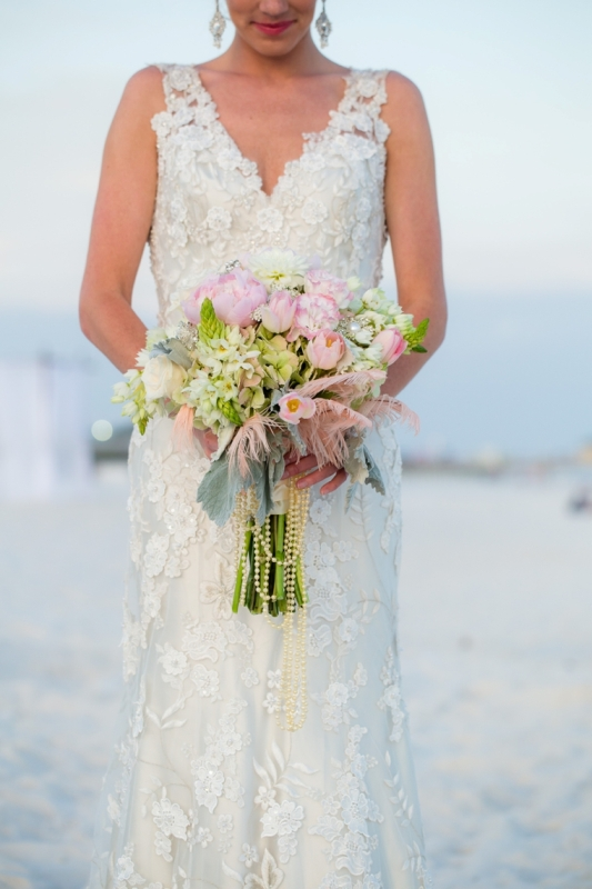 Picture Of pink and silver glamorous great gatsby wedding inspiration on the beach  2