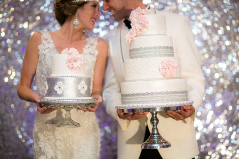 Picture Of pink and silver glamorous great gatsby wedding inspiration on the beach  22
