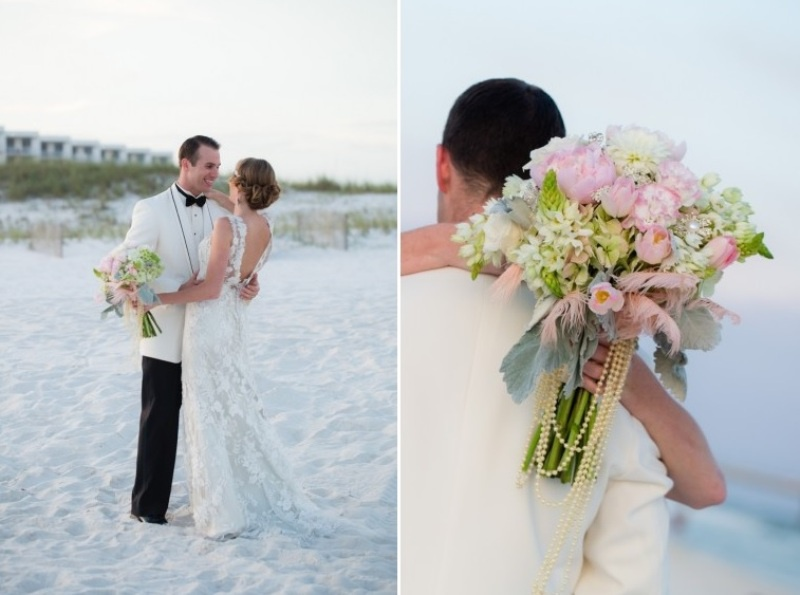 Picture Of pink and silver glamorous great gatsby wedding inspiration on the beach  5