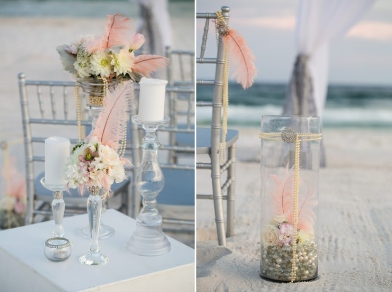 Picture Of pink and silver glamorous great gatsby wedding inspiration on the beach  7