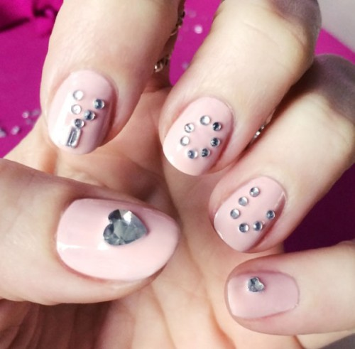 Pink Love Nails With Crystals Wedding Valentines Day Nails