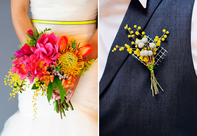 Wedding Flowers Red And Yellow : Picture of pink yellow blue neon wedding inspiration