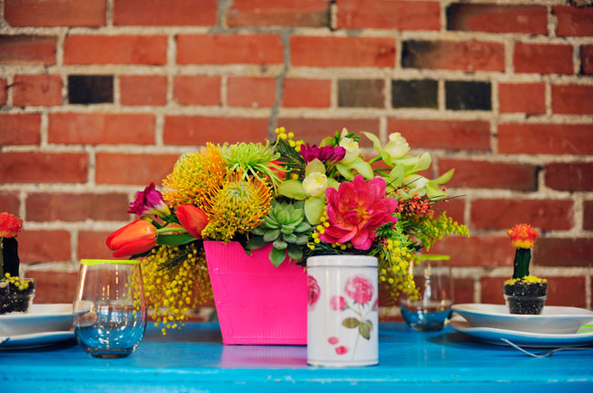 Pink Yellow Blue Neon Wedding Inspiration