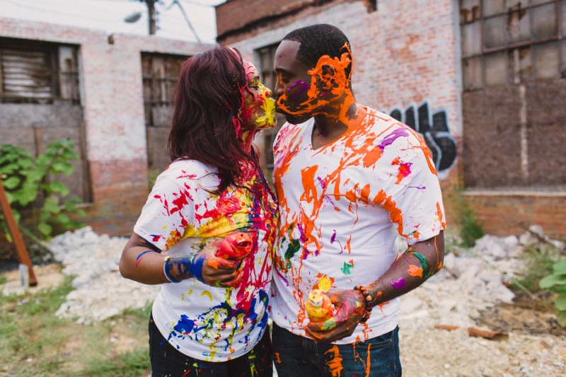 Picture Of playful fun and ccolorful engagement shoot  5
