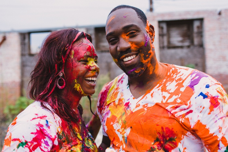 Picture Of playful fun and ccolorful engagement shoot  7