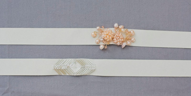 Picture Of Pretty Diy Beaded Sash To Glam Up A Simple Wedding Dress