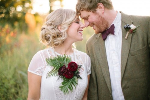 Purple And Burgundy Fall Woodland Wedding Inspiration
