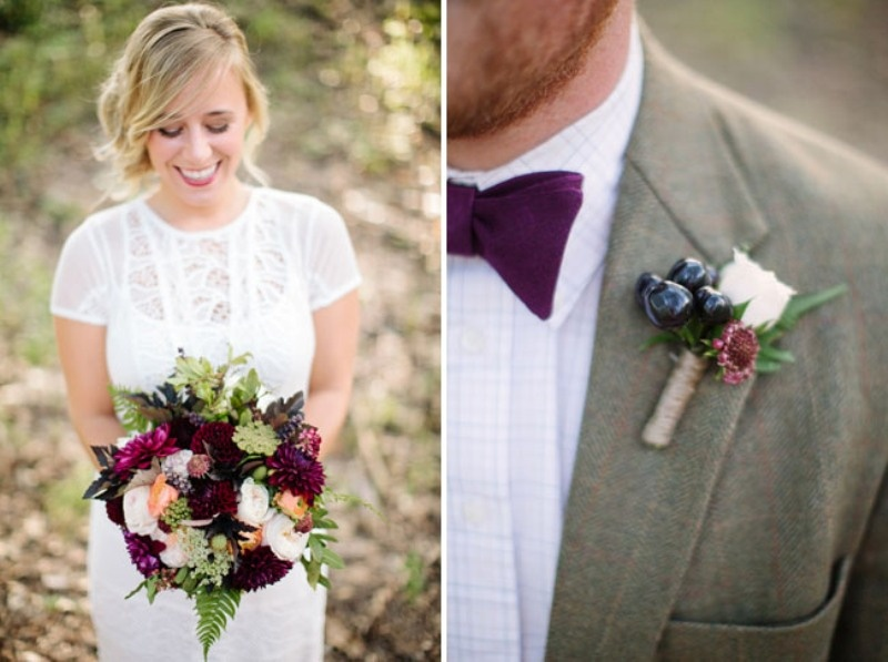 Picture Of Purple And Burgundy Fall Woodland Wedding Inspiration