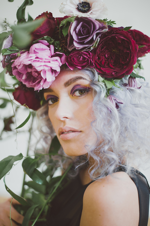 Picture Of purple bohemian bridal shoot with jewel shades  1