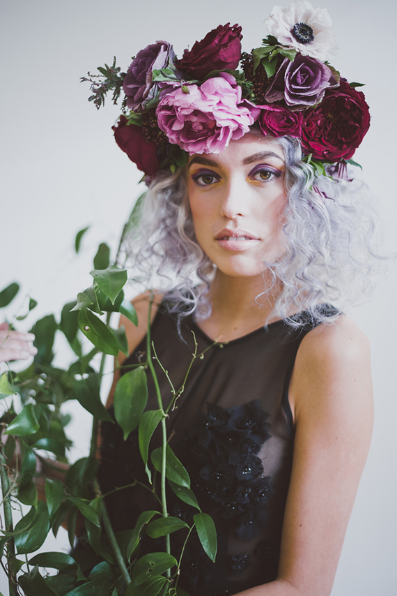 Picture Of purple bohemian bridal shoot with jewel shades  12