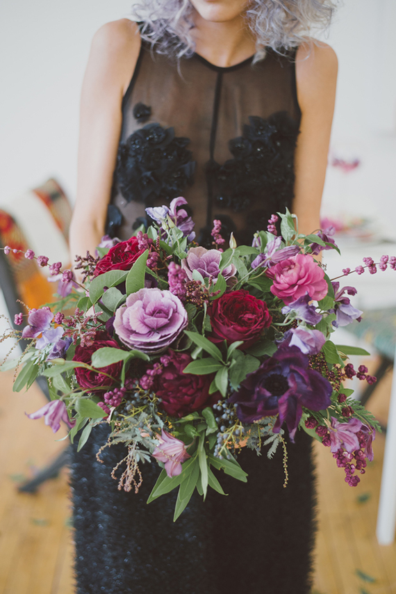 Picture Of purple bohemian bridal shoot with jewel shades  5