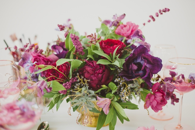 Picture Of purple bohemian bridal shoot with jewel shades  8