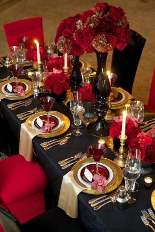 Pics Photos Red And Black Wedding Reception 550x366