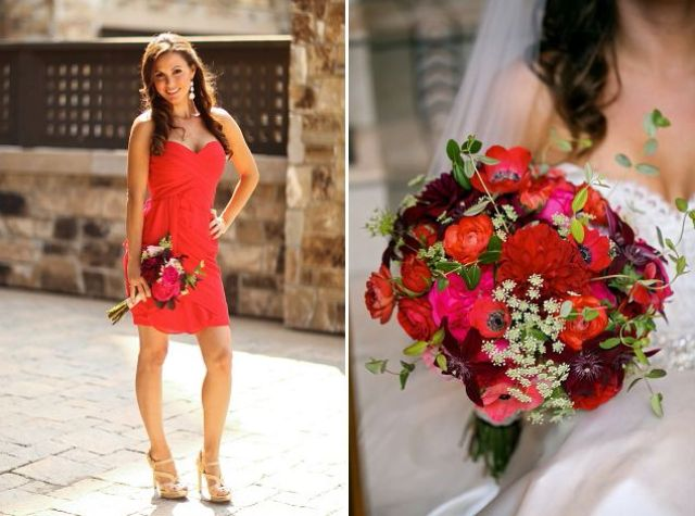 Red Pink And Gold Wedding On A Rainy Day