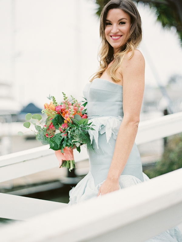 Picture Of refined nautical shoot with a stunning blue wedding dress  17