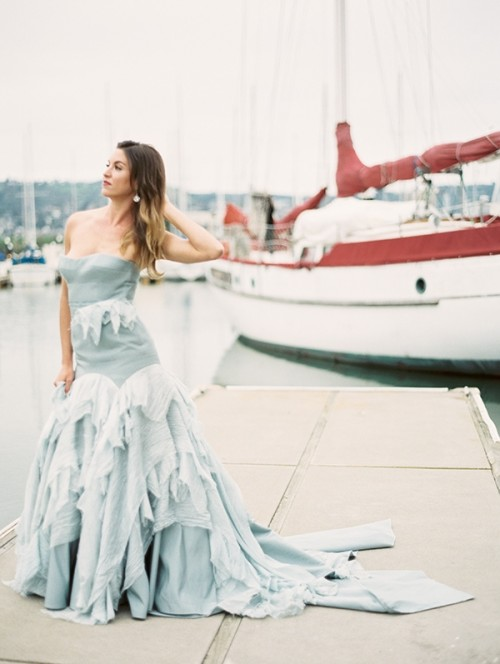 Refined Nautical Shoot With A Stunning Blue Wedding Dress
