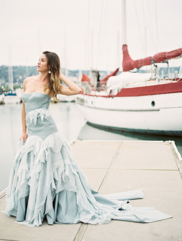 Picture Of refined nautical shoot with a stunning blue wedding dress  19