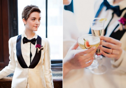 Refined Same Sex Winter Wedding In New York Public Library