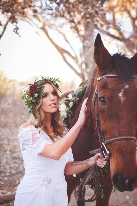 Picture Of romantic and boho inspired woodland inspiration with marsala tones  2