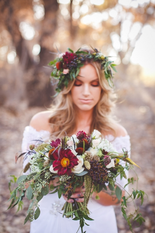 Picture Of romantic and boho inspired woodland inspiration with marsala tones  3
