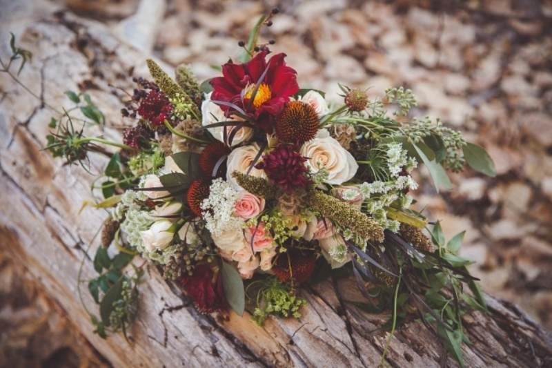 Picture Of romantic and boho inspired woodland inspiration with marsala tones  7