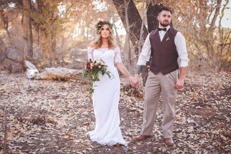 Picture Of romantic and boho inspired woodland inspiration with marsala tones  8