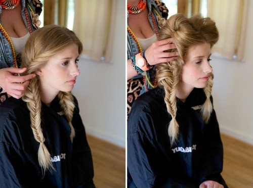 Romantic And Messy Diy Fishtail Braid Wedding Hairstyle