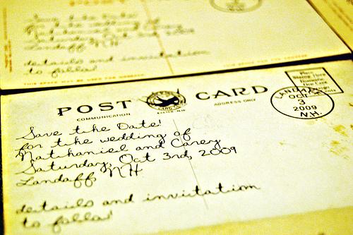 vintage postcards save the date (via intimateweddings)