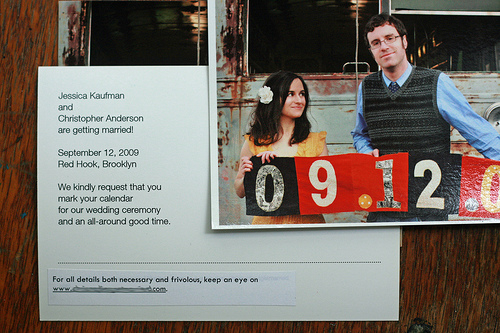 DIY photo save the date (via intimateweddings)