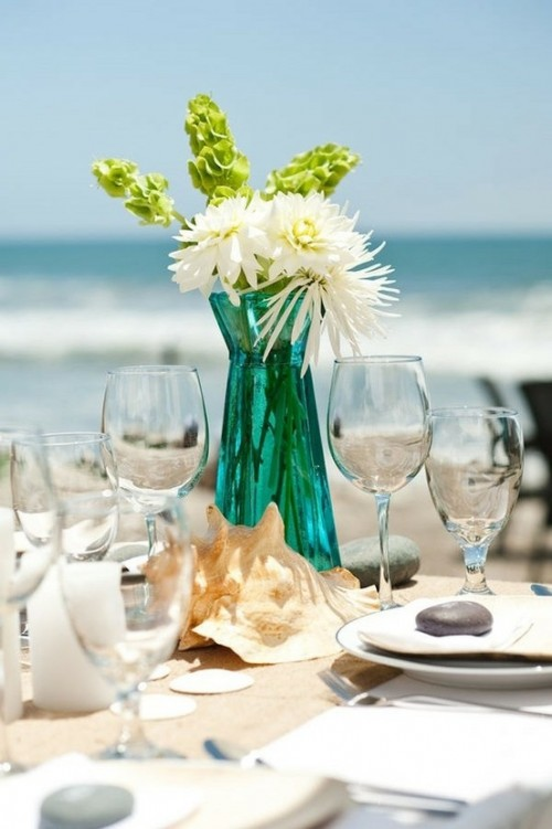 Romantic Beach Wedding Table Settings