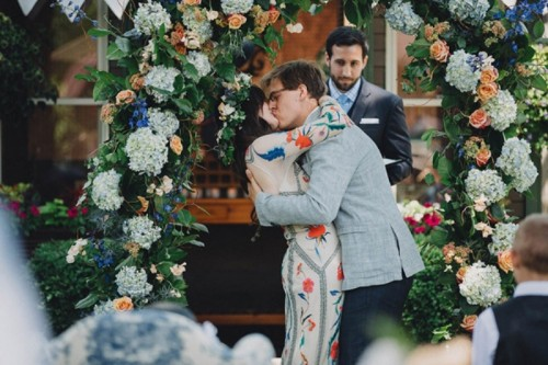 Romantic Boho Inspired Wedding With A Vintage Patterned Dress
