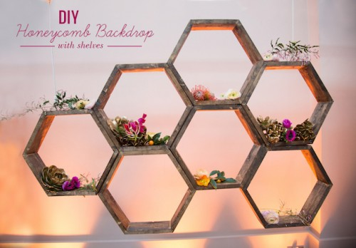 Romantic DIY Honeycomb Backdrop With Shelves
