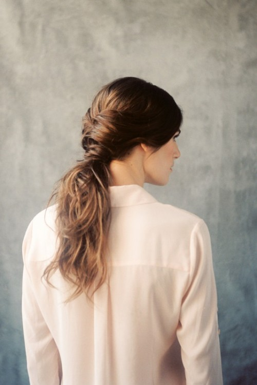 Romantic DIY Twisted Low Pony Wedding Hairstyle