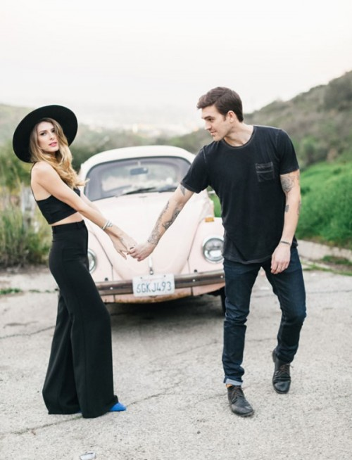 Romantic Hollywood Engagement Session With A Vintage Car