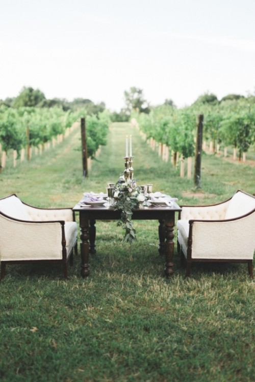 Romantic Lavender Vineyard Wedding Shoot