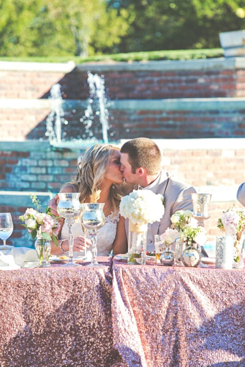 Romantic Pink Sequin Winery Wedding